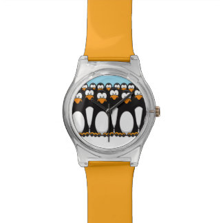 Crowd of Funny Cartoon Penguins on Snow Wristwatch