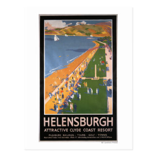 Crowds along Clyde Coast Beach Railways Poster Postcard