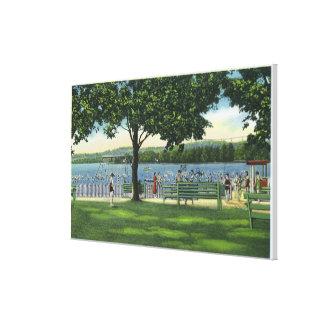 Crowds at the Beach and Park on Chautauqua Canvas Print
