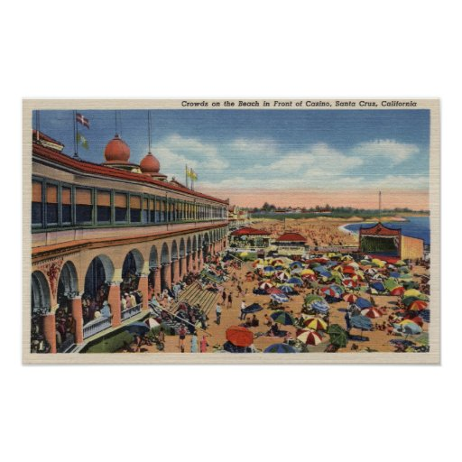 Crowds on the Beach in Front of Casino Poster