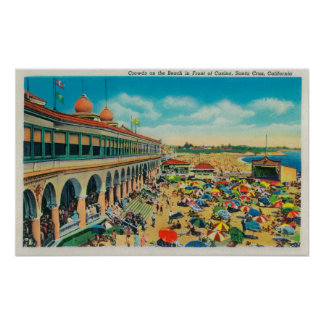 Crowds on the Beach in front of the Casino Poster