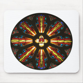 Crown and Cross Stained Glass Art Mouse Pad