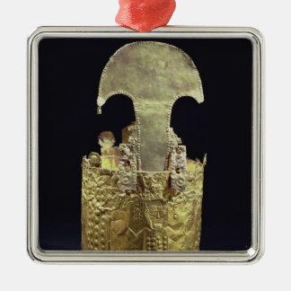 Crown, Chimu Silver-Colored Square Decoration