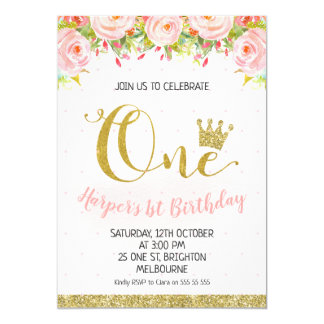Crown Floral Princess 1st Birthday Invitation