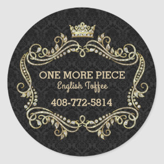 Crown Gold Glitter & Swirly Floral Frame Classic Round Sticker