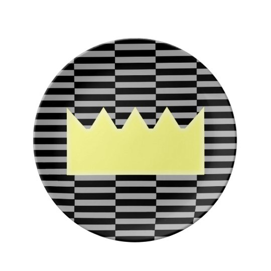 Crown - grey and black strips. plate