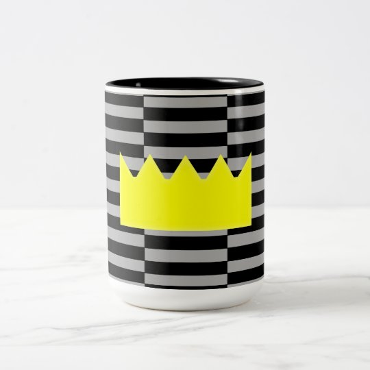 Crown - grey and black strips. Two-Tone coffee mug