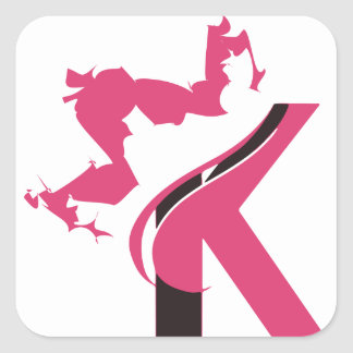 Crown K Logo Design BMI Square Sticker