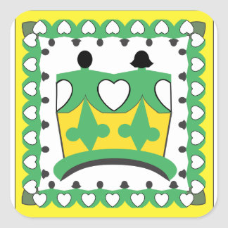 """CROWN KIDS CARTOON  Square Stickers 1.5"""" GLOSSY 2"""
