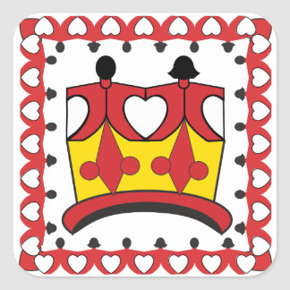 """CROWN KIDS CARTOON  Square Stickers 3"""" GLOSSY"""