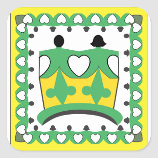 """CROWN KIDS CARTOON  Square Stickers 3"""" GLOSSY 2"""