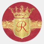 Crown Monogram in Gold Tones Round Sticker