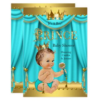 Crown Prince Baby Shower Gold Aqua Teal Brunette Card