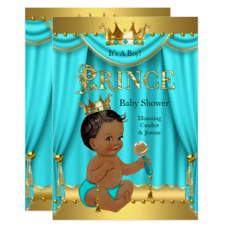 Crown Prince Baby Shower Gold Aqua Teal Ethnic Card