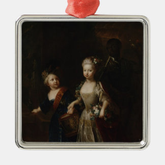 Crown Prince Frederick II with sister Silver-Colored Square Decoration