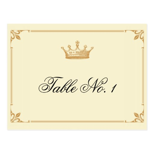 Crown Regency in Gold and Ivory Table Number Post Card