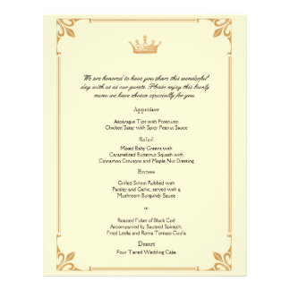 Crown Regency in Gold and Ivory Wedding Menu