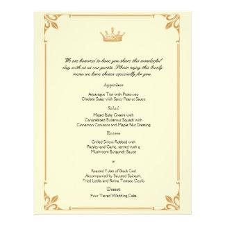 Crown Regency in Gold and Ivory Wedding Menu 21.5 Cm X 28 Cm Flyer