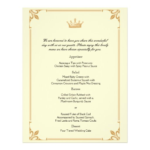 Crown Regency in Gold and Ivory Wedding Menu Flyer Design