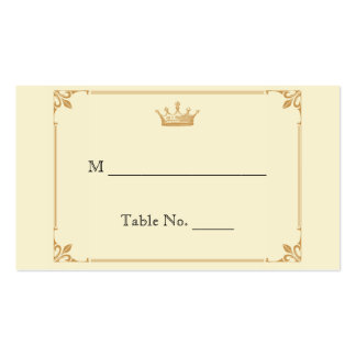 Crown Regency in Gold Ivory Wedding Place Cards Pack Of Standard Business Cards