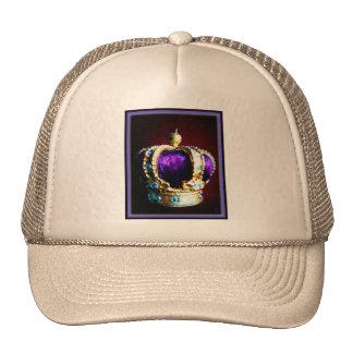CROWN ROYALTY PURPLE VELVET  ON BLACK TRUCKER HATS