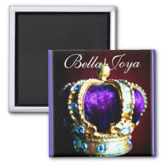 CROWN ROYALTY PURPLE VELVET  ON BLACK SQUARE MAGNET
