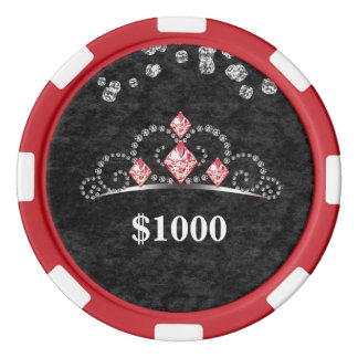 Crown Ruby Gem Clay Poker Chip Red Striped Edge