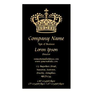 Crown Symbol - White on Black (Gold Card) Pack Of Standard Business Cards