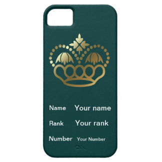 Crown with Name, Rank, Number - teal iPhone 5 Covers