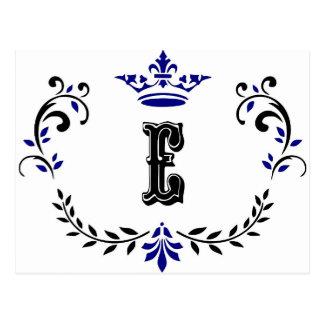 Crown Wreath Monogram 'E' Postcard