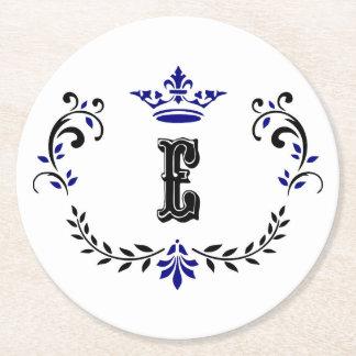 Crown Wreath Monogram 'E' Round Paper Coaster