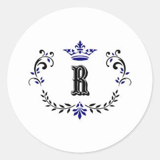 Crown Wreath Monogram 'R' Classic Round Sticker