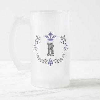 Crown Wreath Monogram 'R' Frosted Glass Beer Mug