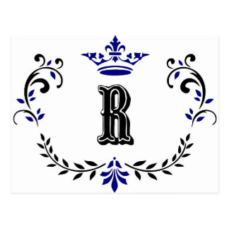 Crown Wreath Monogram 'R' Postcard