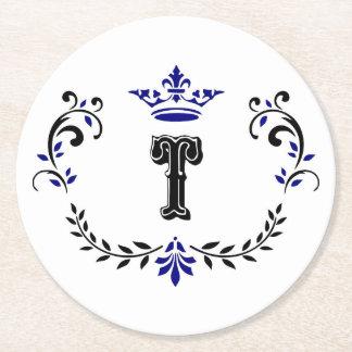 Crown Wreath Monogram 'T' Round Paper Coaster