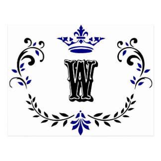 Crown Wreath Monogram 'W' Postcard