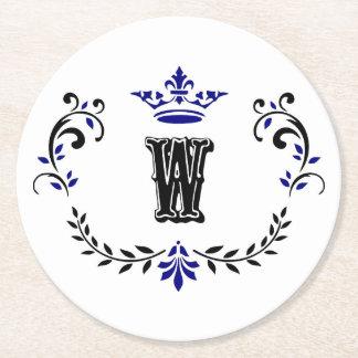 Crown Wreath Monogram 'W' Round Paper Coaster