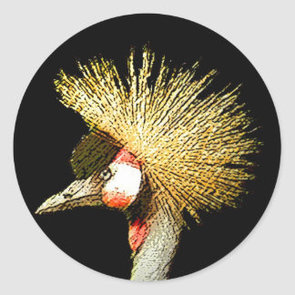 Crowned Crane from Junglewalk.com Classic Round Sticker