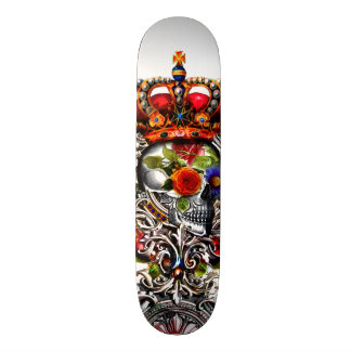 Crowned Floral Skull Custom Skateboard