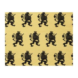 Crowned Lion Black Light Yellow Wood Print