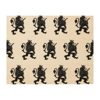 Crowned Lion Black Wood Canvases