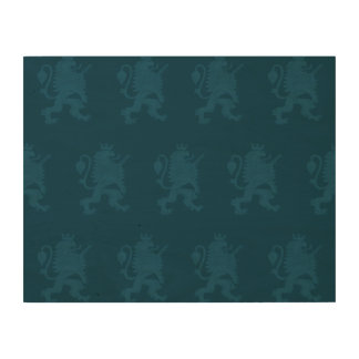 Crowned Lion Blue Wood Prints
