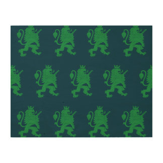 Crowned Lion Green Blue Wood Canvas