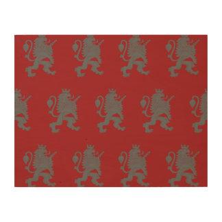 Crowned Lion Grey Red Wood Prints