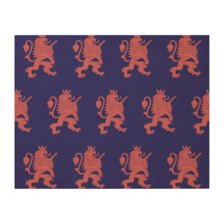 Crowned Lion Pink Purple Wood Canvases