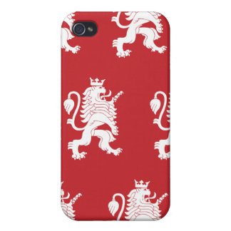 Crowned Lion White Red Cases For iPhone 4
