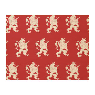 Crowned Lion White Red Wood Print