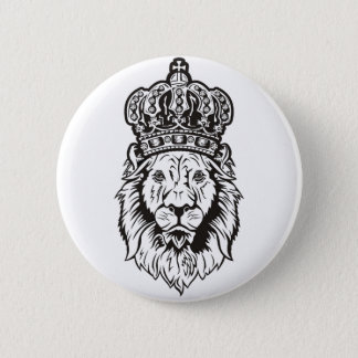 Crowned Lion's Head 6 Cm Round Badge