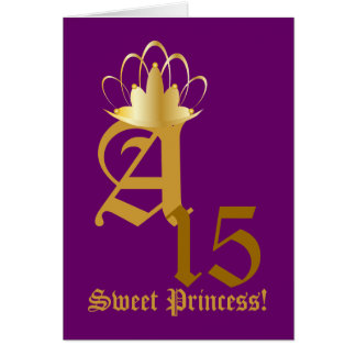 Crowned Monogram Sweet Fifteen!-Customize Card