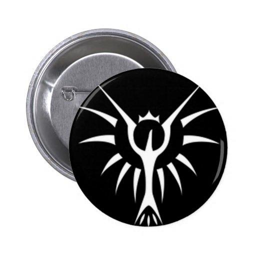 Crowned phoenix Button (black)